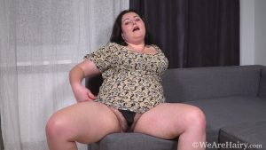 Sweety YellowDressGreyCouch HD.mp4.00000 300x169 - Sweety masturbates and orgasms on her couch - Brunettes, Chubby, Hairy Armpits, Hairy Arms