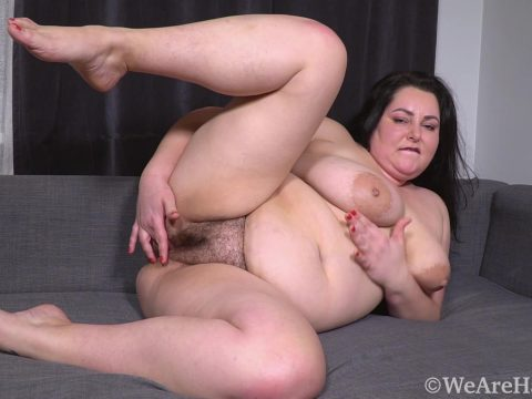 Sweety YellowDressGreyCouch HD.mp4.00004 480x360 - Sweety masturbates and orgasms on her couch - Brunettes, Chubby, Hairy Armpits, Hairy Arms