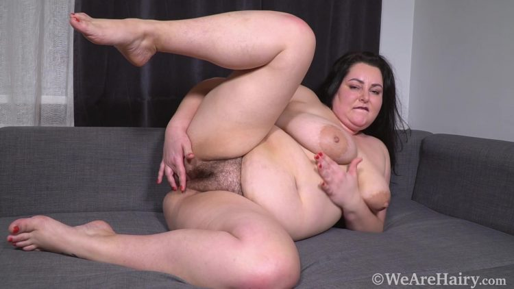 Sweety YellowDressGreyCouch HD.mp4.00004 750x422 - Sweety masturbates and orgasms on her couch - Brunettes, Chubby, Hairy Armpits, Hairy Arms