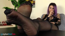 nfl violet divanetto02 00001 250x141 - Pantyhose - Super-hot Violet in a black leather fetish dress flaunts her nyloned feet in a tempting way - empornius.com