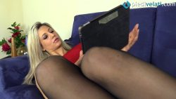 pv samantha vestitorosso 00001 250x141 - Pantyhose - Sultry Samantha in a red form-fitting dress and sheer black tights - empornius.com